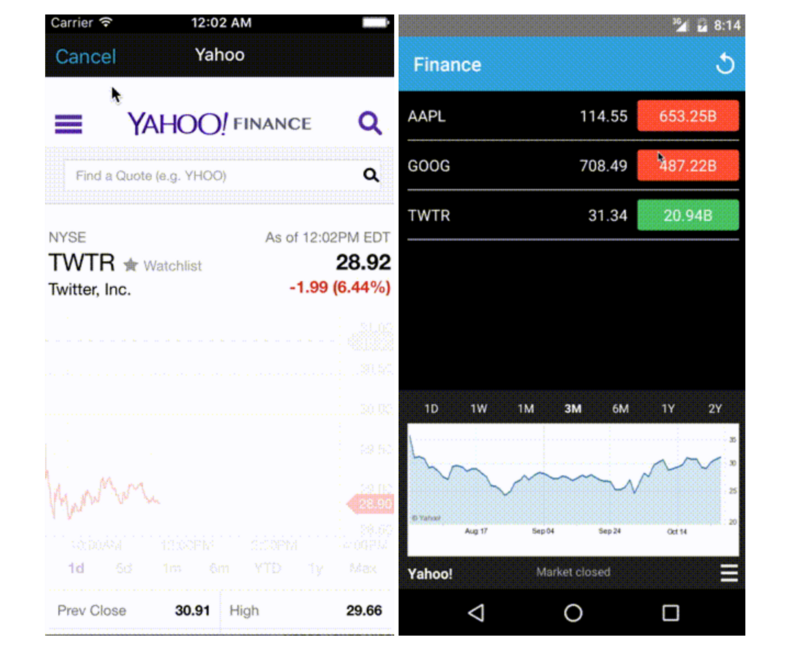 iOS's Stocks App clone: Written in React Native available