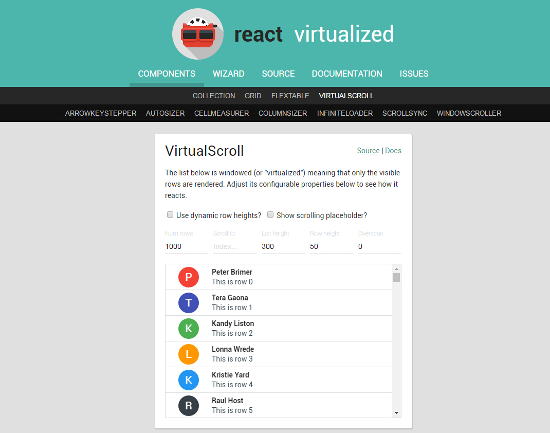 React Virtualized React Js Examples