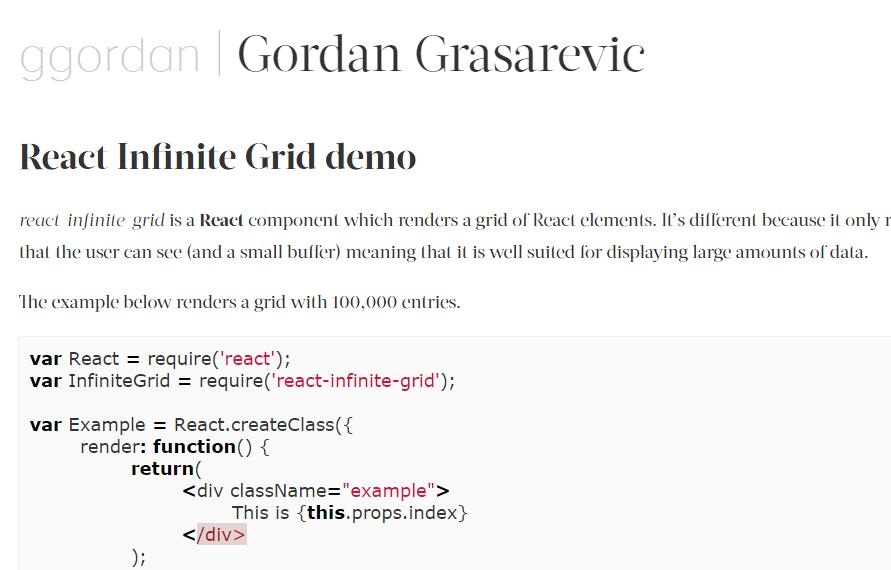 A React component which renders a grid of elements