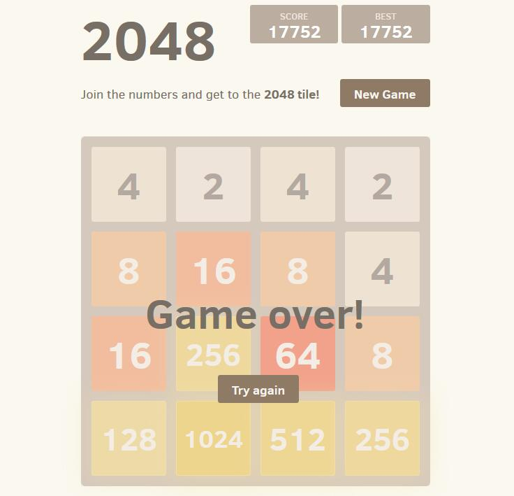 A React implementation of the popular 2048 game - React js