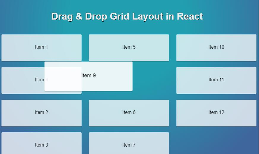 Calendar Typography Examples : Drag drop grid layout in react js examples