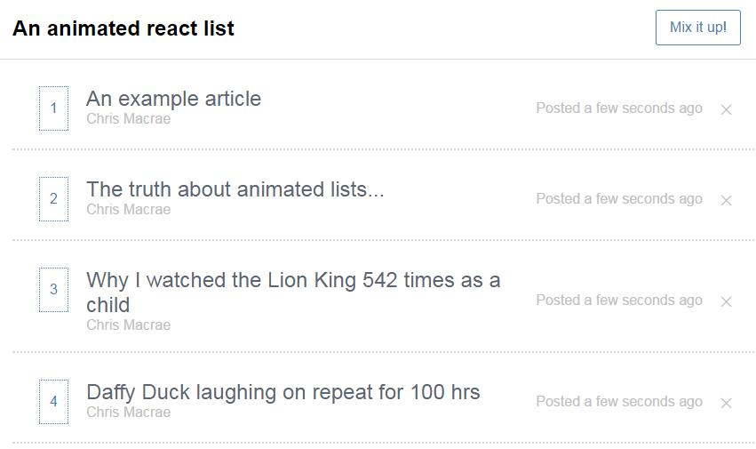 Animated Sorting List React js