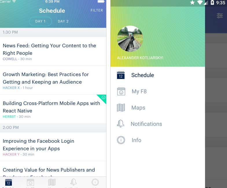 F8 App 2016 powered by React Native
