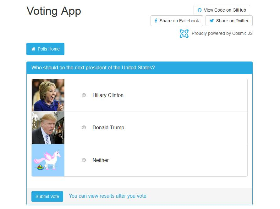 A voting app built using React, MobX and Cosmic JS