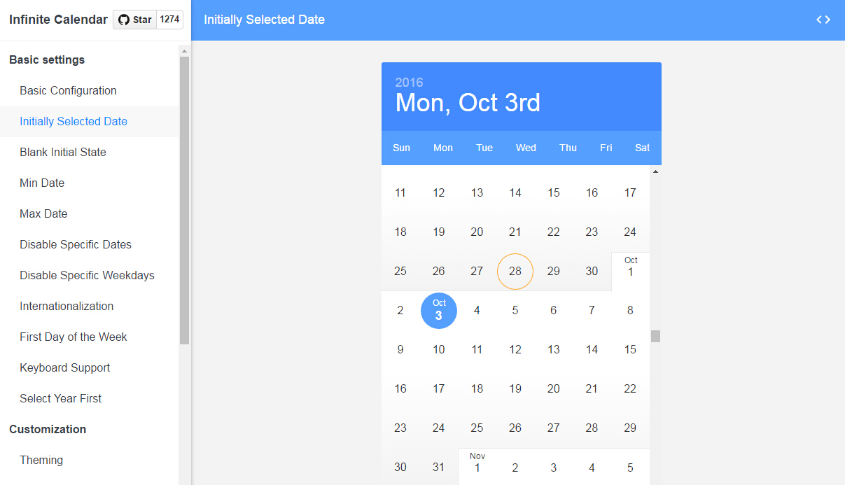 React Infinite Calendar : Infinite scrolling date-picker built with React