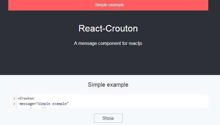 React Crouton : A message component for reactjs