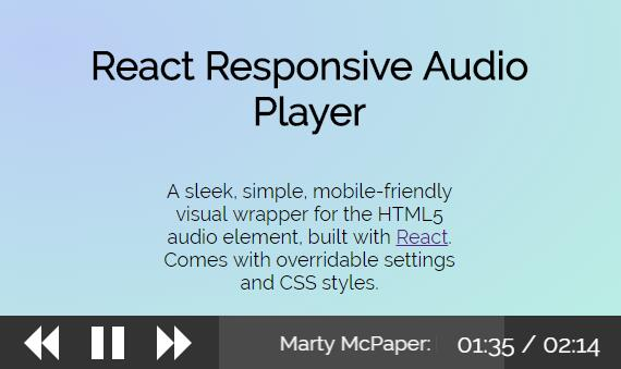 A simple and responsive visual wrapper for the HTML audio tag with React