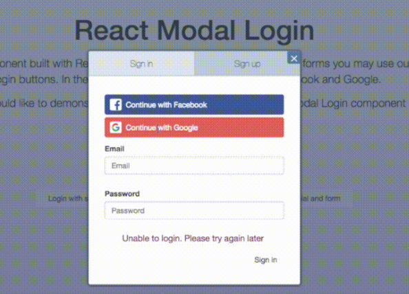 Login modal component built with React
