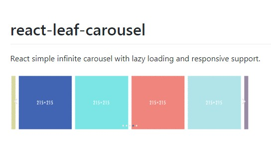 React simple infinite carousel with lazy loading and responsive support