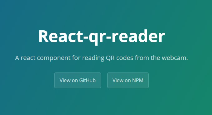 React component for reading QR codes from webcam