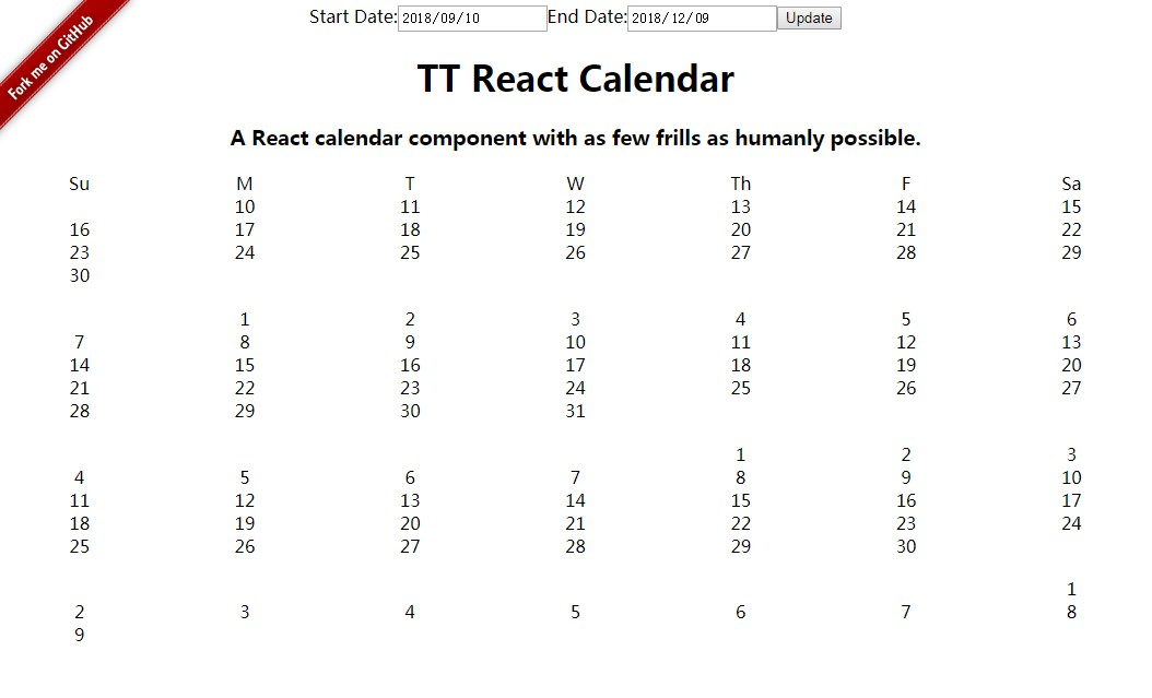 A React calendar component with as few frills as humanly possible