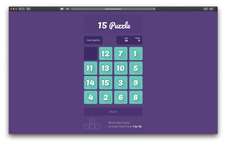 A classic 15 puzzle game using React.js