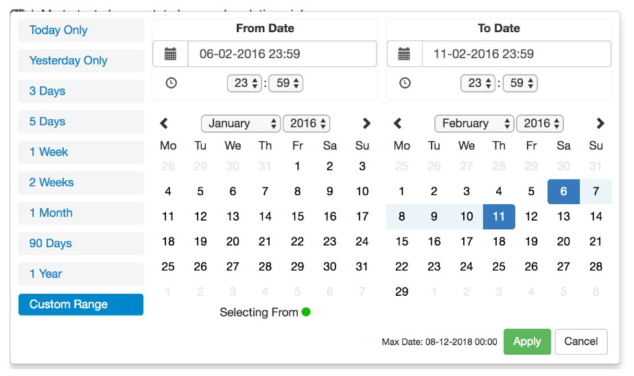 React Advanced Date Time Range Picker