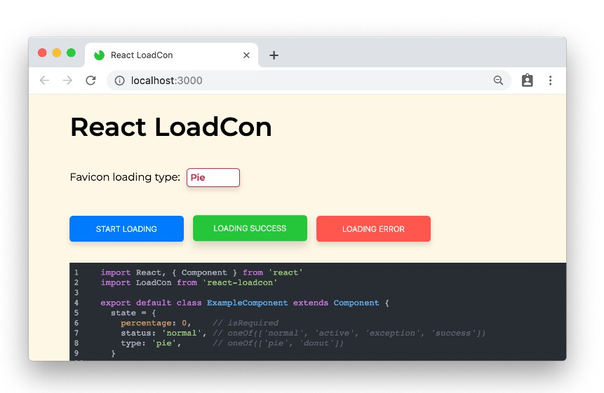 React component to manipulate the favicon for loading or progress