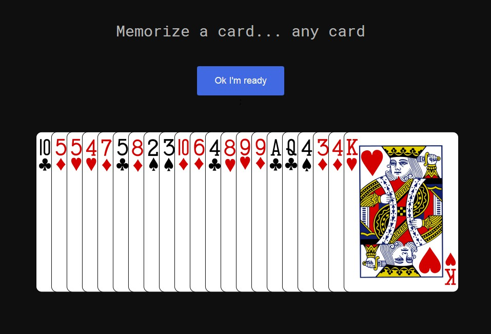 21 Card trick done in React