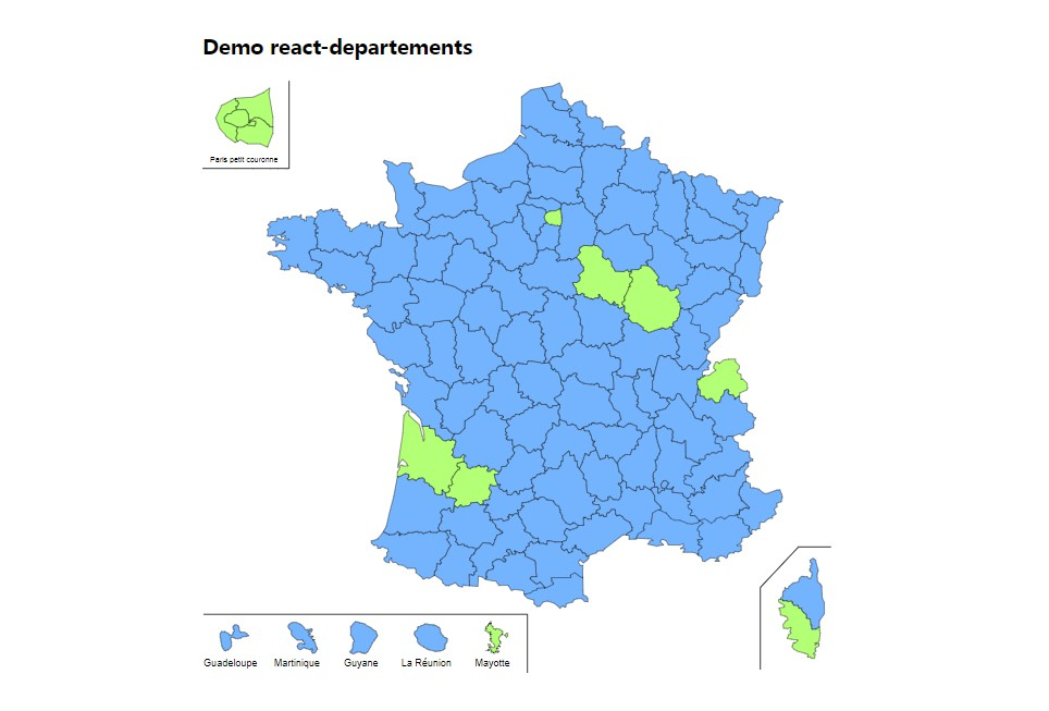 A map of France where some departments can be colored