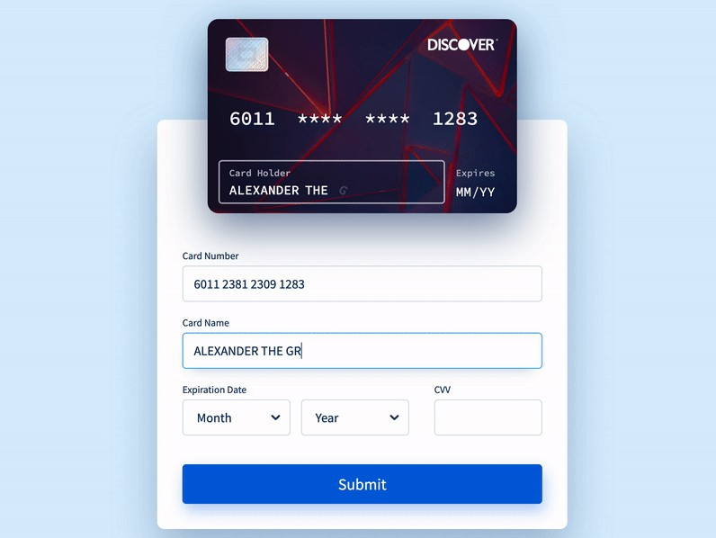 A fantastic credit card form with smooth and micro-interactions built with reactjs